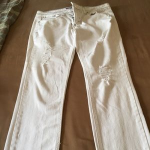 Denim - What about Me White Distressed Jeans